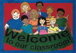 "Welcome To Our Classroom Rug - Rectangle - 23"" x 32"" - JC1460VIP01 - Joy Carpets"