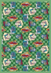 "Fabulous Fifties Rug - Green - Rectangle - 5'4"" x 7'8"" - JC1461C02 - Joy Carpets"