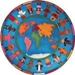 "Hands Around the World Rug - Round - 7'7"" - JC1488E - Joy Carpets"