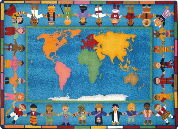 Hands Around The World Kids Rug World Map Classroom Carpet