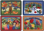 Welcome Friends Rug Seasonal 4-Mat Set - Rectangle - 23