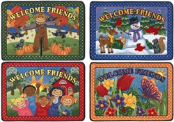 "Welcome Friends Rug Seasonal 4-Mat Set - Rectangle - 23"" x 33"" - JC1600VIP - Joy Carpets"