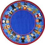 "Children of Many Cultures Rug - Round - 7'7"" - JC1622E - Joy Carpets"