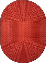 "Legacy Faux Braided Rug - Red - Oval - 5'4"" x 7'8"" - JC1631CC02 - Joy Carpets"