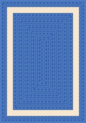 "Sharing Circle Faux Braided Rug - Blue - Rectangle - 5'4"" x 7'8"" - JC1632C01 - Joy Carpets"