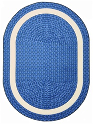 "Sharing Circle Faux Braided Rug - Blue - Oval - 5'4"" x 7'8"" - JC1632CC01 - Joy Carpets"