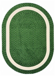 "Sharing Circle Faux Braided Rug - Green - Oval - 5'4"" x 7'8"" - JC1632CC03 - Joy Carpets"