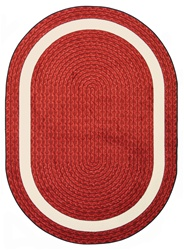 "Sharing Circle Faux Braided Rug - Red - Oval - 7'8"" x 10'9"" - JC1632DD02 - Joy Carpets"