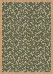 "Dragonflies Wall-to-Wall Carpet - Green - 13'6"" - JC437W03 - Joy Carpets"