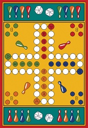 "Parcheesi Play Rug - Rectangle - 36"" x 52"" - LC157 - Learning Carpets"