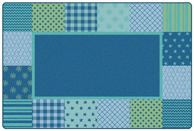 KIDSoft Pattern Blocks Rug - Blue - CFK1554, CFK1556, CFK1558 - Carpets for Kids