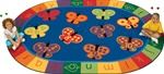"123 ABC Butterfly Fun Rug - Oval - 6'9"" x 9'5"" - CFK3506 - Carpets for Kids"