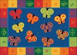"123 ABC Butterfly Fun Rug - Rectangle - 3'10"" x 5'5"" - CFK3513 - Carpets for Kids"