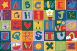 Toddler Alphabet Blocks Rug - Rectangle - 6' x 9' - CFK3800 - Carpets for Kids