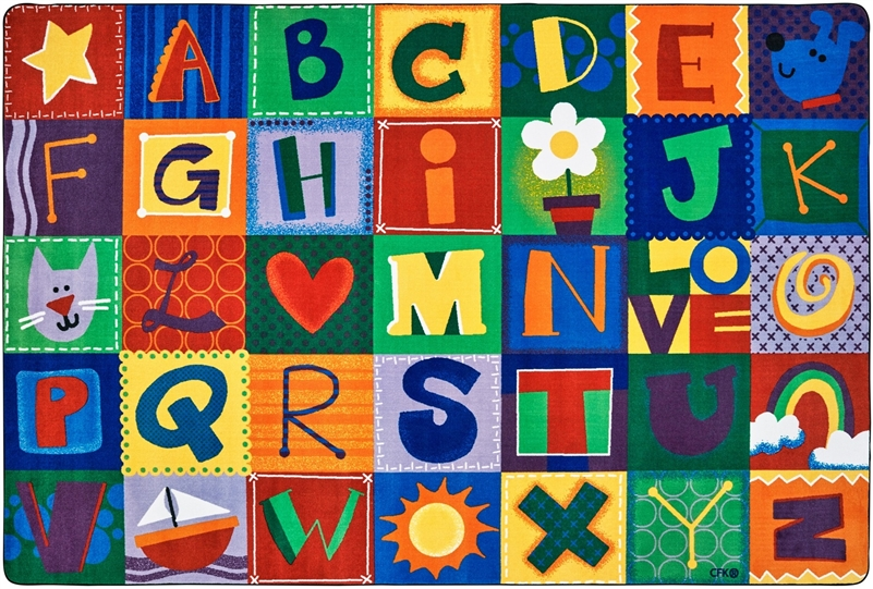 Toddler alphabet blocks rug alphabet area rug for kids for Classroom rug