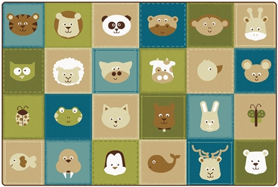 KIDSoft Animal Patchwork Rug - Nature - CFK1854, CFK1856, CFK1858 - Carpets for Kids
