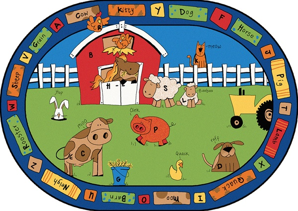 Alphabet Farm Rug Oval 5 5 Quot X 7 8 Quot Cfk5205 Carpets For