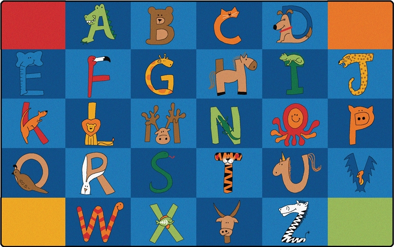 A To Z Animals Alphabet Rug For Classroom