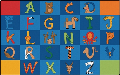 A to Z Animals Alphabet Rug for Classroom RTR Kids Rugs