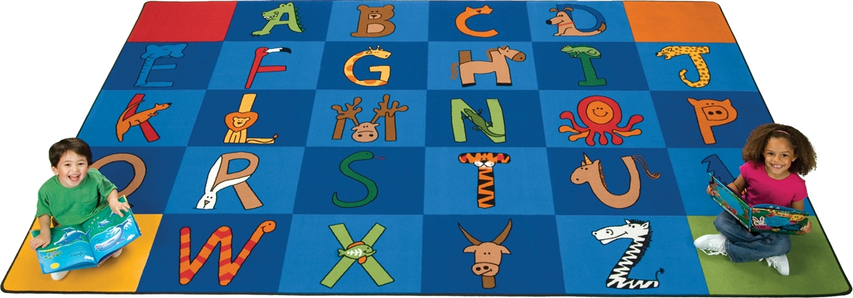 A To Z Animals Rug Carpets For Kids Alphabet Amp Animal Rug