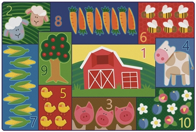 Toddler Farm Counting Value PLUS Rug - Rectangle - 4' x 6' - CFK6455 - Carpets for Kids