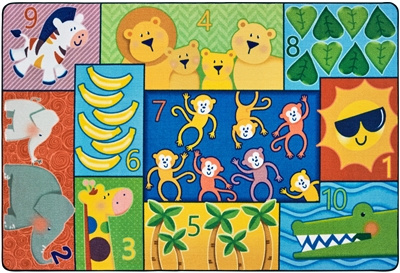 Jungle Jam Counting Value PLUS Rug - Rectangle - 4' x 6' - CFK6473 - Carpets for Kids