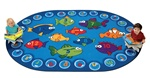 "Fishing for Literacy Rug - Oval - 6'9"" x 9'5"" - CFK6806 - Carpets for Kids"
