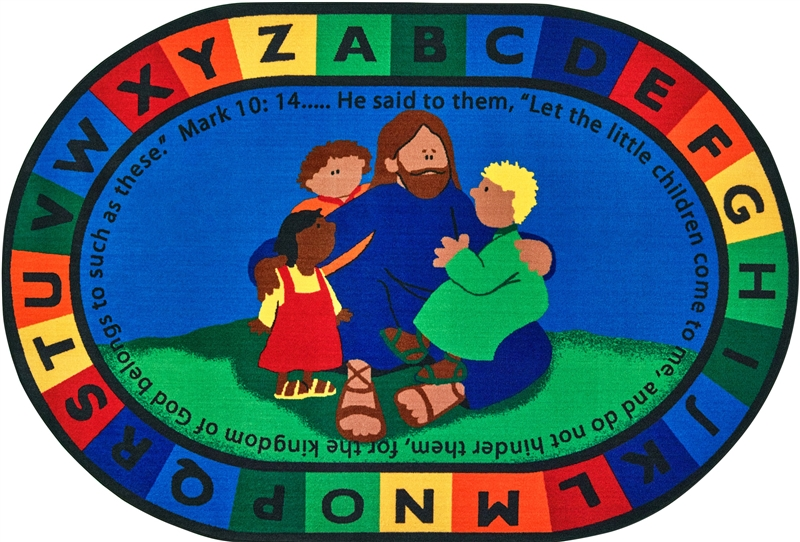 Jesus Loves The Little Children Christian Rug For Classrooms