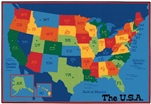 USA Map Value Rug - Rectangle - 6' x 9' - CFK7295 - Carpets for Kids