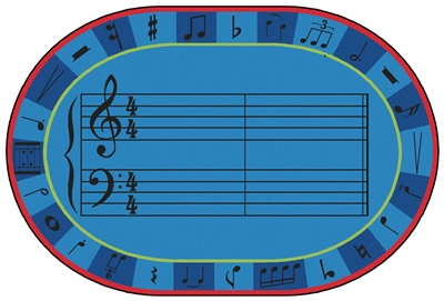 A-Sharp Music Value PLUS Rug - Oval - 6' x 9' - CFK7299 - Carpets for Kids