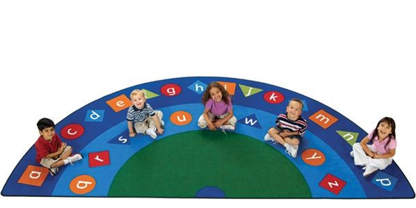 Alpha Shapes Semi Circle Classroom Rug Abc Carpet For