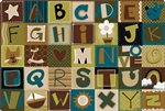Toddler Alphabet Blocks Rug Factory Second - Nature - Rectangle - 8' x 12' - CFKFS11728 - Carpets for Kids