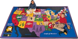 "Discover America Rug Factory Second - Rectangle - 4'5"" x 5'10"" - CFKFS1401 - Carpets for Kids"