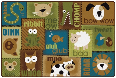 Animal Sounds Toddler Rug Factory Second - Nature - Rectangle - 6' x 9' - CFKFS18726 - Carpets for Kids