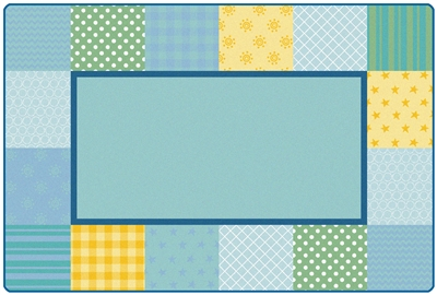 KIDSoft Pattern Blocks Rug Factory Second - Soft - Rectangle - 6' x 9' - CFKFS2756 - Carpets for Kids