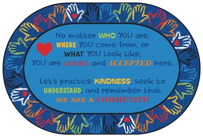 Hands Together Community Rug Factory Second - Oval - 6' x 9' - CFKFS3906 - Carpets for Kids