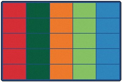 Colorful Rows Seating Rug Factory Second - Rectangle - 6' x 9' - CFKFS4025 - Carpets for Kids