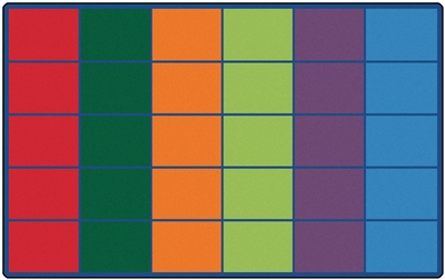 "Colorful Rows Seating Rug Seats 30 Factory Second - Rectangle - 8'4"" x 13'4"" - CFK4034 - Carpets for Kids"