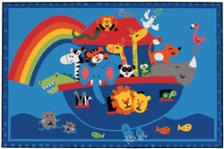Noah's Animals Rug Factory Second - Rectangle - 4' x 6' - CFKFS4874 - Carpets for Kids