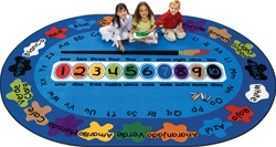 "Bilingual Paint by Numero Rug Factory Second - Oval - 6'9"" x 9'5"" - CFKFS5395 - Carpets for Kids"