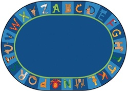 "A to Z Animals Rug Factory Second - Oval - 6'9"" x 9'5"" - CFKFS5506 - Carpets for Kids"