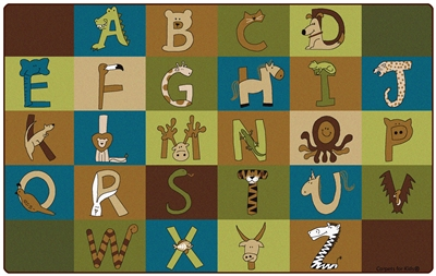 "A to Z Animals Rug Factory Second - Nature - Rectangle - 7'6"" x 12' - CFKFS55762 - Carpets for Kids"