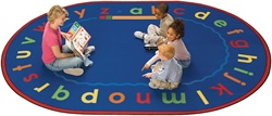 "Lowercase Alpha Rug Factory Second - Oval - 6'9"" x 9'5"" - CFKFS5606 - Carpets for Kids"