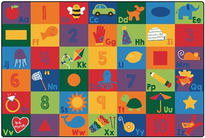 Sequential Seating Literacy Rug Factory Second - Rectangle - 6' x 9' - CFKFS6700 - Carpets for Kids