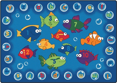 "Fishing for Literacy Rug Factory Second - Rectangle - 7'8"" x 10'10"" - CFKFS6817 - Carpets for Kids"