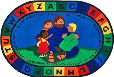 Jesus Loves the Little Children Rug Factory Second - Oval - 6' x 9' - CFKFS72006 - Carpets for Kids