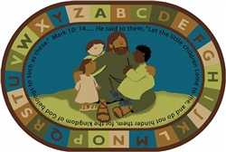 Jesus Loves the Little Children Rug Factory Second - Nature - Oval - 8' x 12' - CFKFS72708 - Carpets for Kids