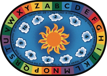 "Isaiah 40:28 Circletime Rug Factory Second - Oval - 4'5"" x 5'10"" - CFKFS79404 - Carpets for Kids"