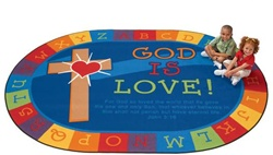 God is Love Learning Rug Factory Second - Oval - 6' x 9' - CFKFS83006 - Carpets for Kids