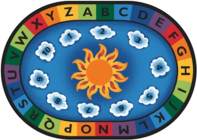 "Sunny Day Learn & Play Rug Factory Second - Oval - 6'9"" x 9'5"" - CFKFS9495 - Carpets for Kids"